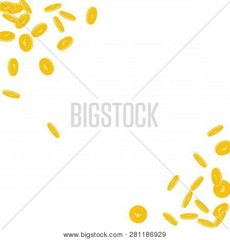 European Union Euro Coins Falling. Scattered Small Eur Coins On White Background. Nice Scatter Abstr