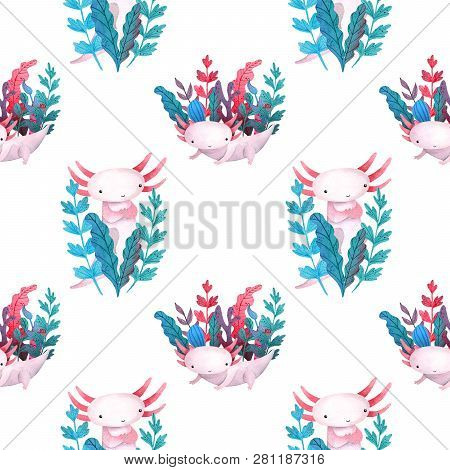 Colorful Pattern Water Plants And Sea Weed Frame With Cute Axolotl