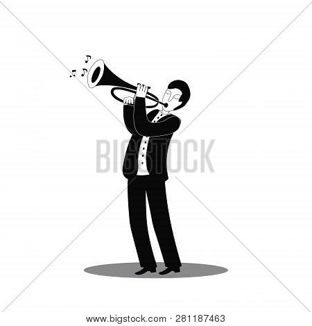 Jazz Trumpet Player. International Jazz Day And World Jazz Festival. Vector Illustration.