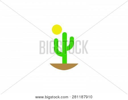 Cactus And Sun In Desert For Logo Design