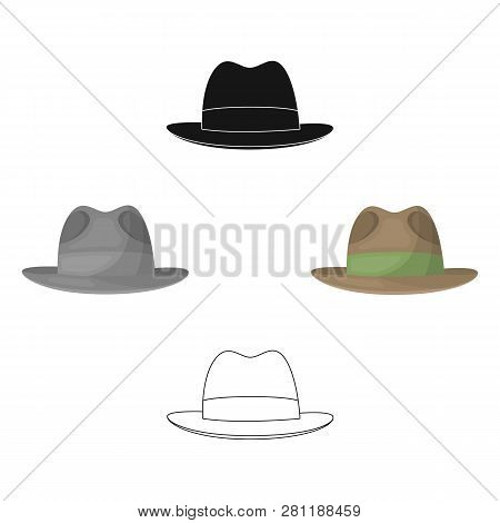 Brown Hat With A Brim. Headdress Investigator For Cover.detective Single Icon In Cartoon Style Vecto