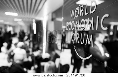 Davos, Switzerland - Jan 24, 2019: Working Moments During World Economic Forum Annual Meeting In Dav