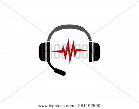 Headphones With Microphone And Heart Beats For Logo Design