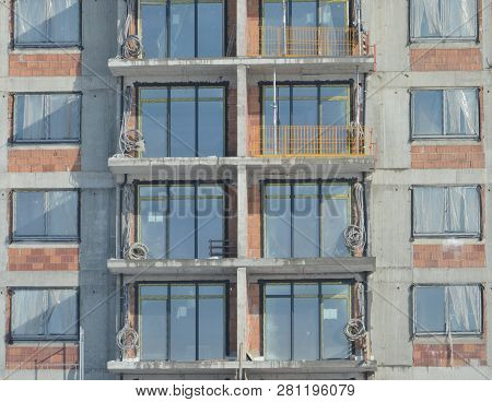 Building Construction Site With Windows And Terrace