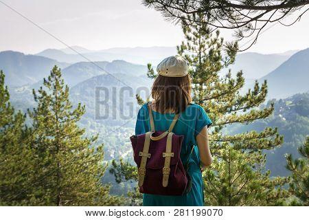 Traveler Girl Hike Alone On Mountain's Peak.