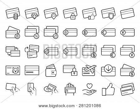 Credit Card Line Icon Set. Vector Line Art Illustration, White Background