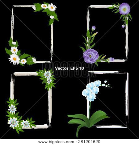 A Set Of Frames For Photos. Decorated With Flowers - Orchid, Passiflora, Eustoma And Chamomile. Vect