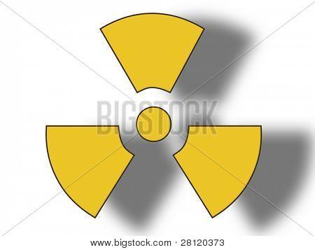3D illustration of a danger radioactive sign on white background.