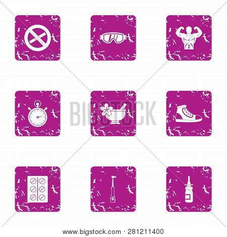 Physical Condition Icons Set. Grunge Set Of 9 Physical Condition Icons For Web Isolated On White Bac