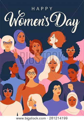 Female Diverse Faces Of Different Ethnicity Poster. Women Empowerment Movement Pattern. Internationa
