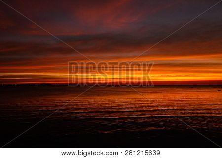 Sunset Twilight At Sea (pattaya Beach - Chonburi Thailand) For Nature Background Or Texture.