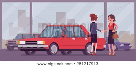 Female Car Dealership Sells A New Red Vehicle To Woman. Young Woman Buying Auto In Automobile Shop,