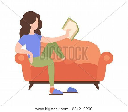 People Weekend Concept - Woman Sits On Sofa And Read A Book On White Background, Flat Vector Illustr