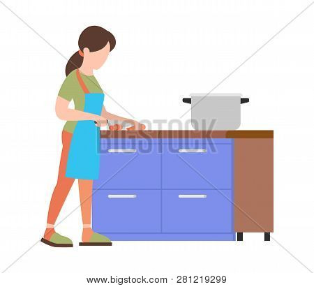 People Weekend Concept - Woman Is Cooking Food On White Background, Flat Vector Illustration