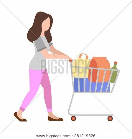 People Weekend Concept - Woman Shopping With Shopping Cart On White Background, Flat Vector Illustra