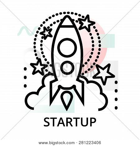 Startup Icon On Abstract Background From Startup Set, Modern Editable Line Vector Illustration, For