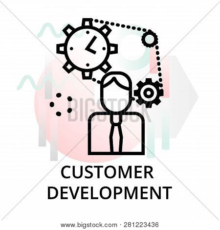 Customer Development Icon On Abstract Background From Startup Set, Modern Editable Line Vector Illus
