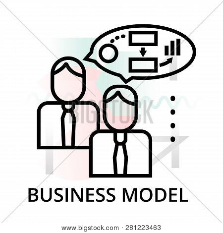 Business Model Icon On Abstract Background From Startup Set, Modern Editable Line Vector Illustratio