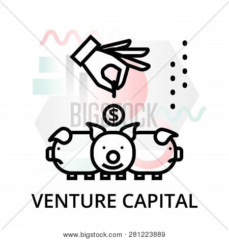 Venture Capital Icon On Abstract Background From Startup Set, Modern Editable Line Vector Illustrati