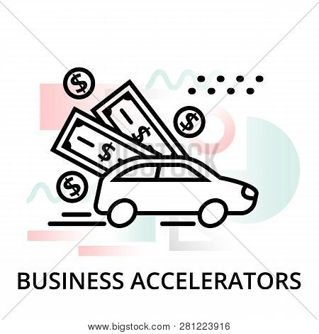 Business Accelerators Icon On Abstract Background From Startup Set, Modern Editable Line Vector Illu