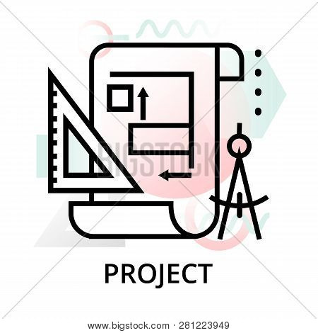 Project Icon On Abstract Background From Startup Set, Modern Editable Line Vector Illustration, For