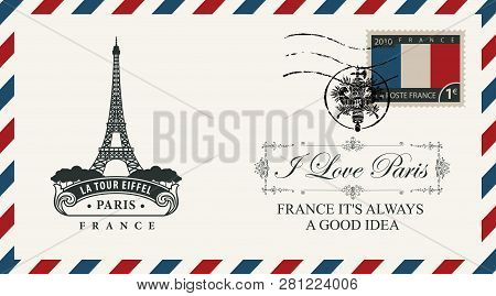 Vector Envelope Or Postcard In Retro Style With Eiffel Tower, Postmark In Form Of French Coat Of Arm