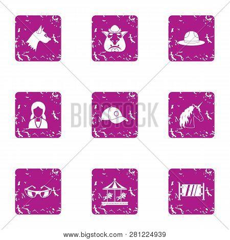 Miniature Icons Set. Grunge Set Of 9 Miniature Icons For Web Isolated On White Background