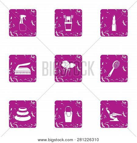Beauty Parlour Icons Set. Grunge Set Of 9 Beauty Parlour Icons For Web Isolated On White Background