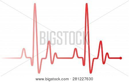 Red Heart Pulse Graphic Line On White. Healthcare Medical Sign With Heart Cardiogram, Cardiology Con