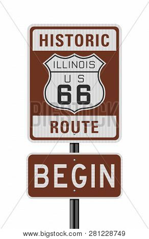 Vector Illustration Of The Historic Route 66 Begin Road Sign