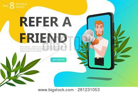 Refer A Friend Concept. Referral Code. Bussines Man With Megaphone On Screen Smartphone. Social Medi