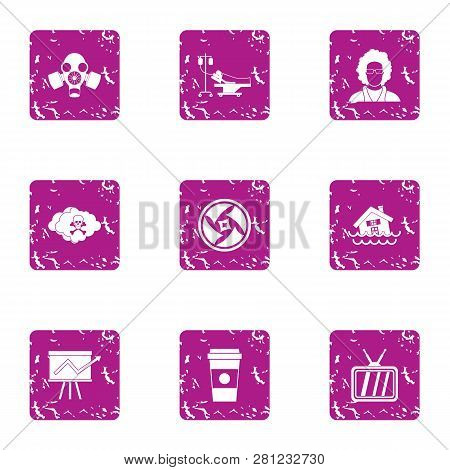 Jeopardy Icons Set. Grunge Set Of 9 Jeopardy Icons For Web Isolated On White Background