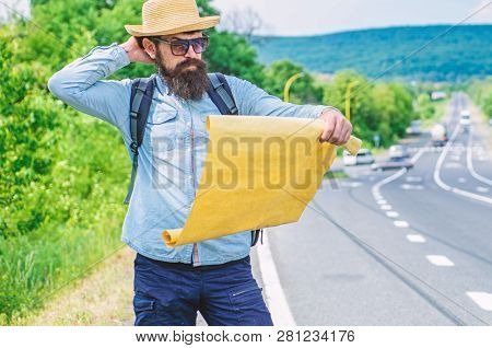 Find Direction Map Large Sheet Of Paper. Where Should I Go. Tourist Backpacker Map Lost Direction Tr