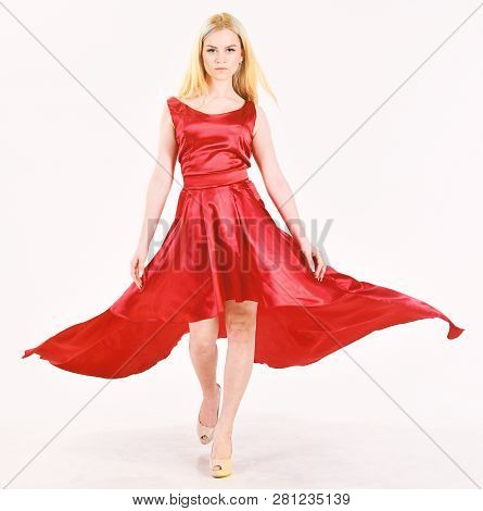 Dress Rent Service, Fashion Industry. Woman Wears Elegant Evening Red Dress, White Background. Lady