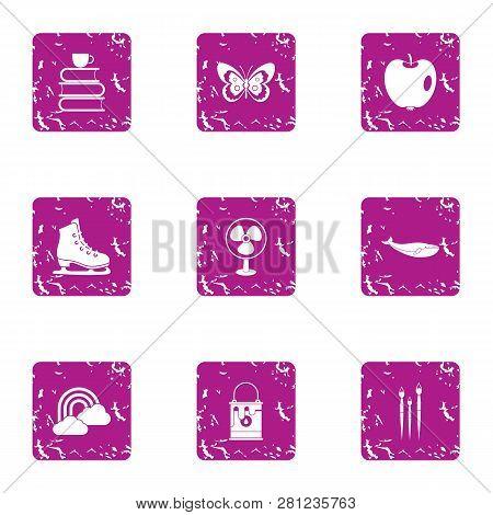 Peaceful Icons Set. Grunge Set Of 9 Peaceful Icons For Web Isolated On White Background