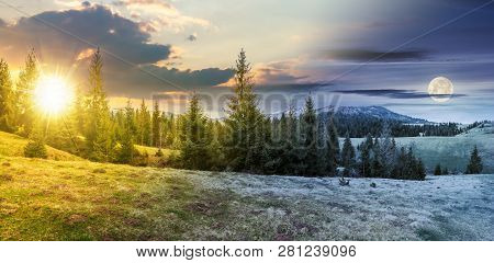 Day And Night Time Change Concept Above Panorama Of Beautiful Countryside In Mountains. Spruce Trees