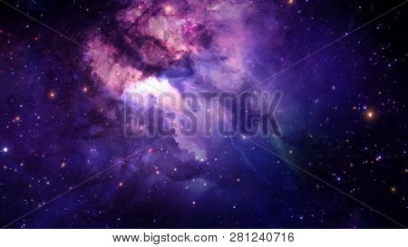 3d Rendering Of A Stellar Nebula And Cosmic Dust, Cosmic Gas Clusters And Constellations In Deep Spa