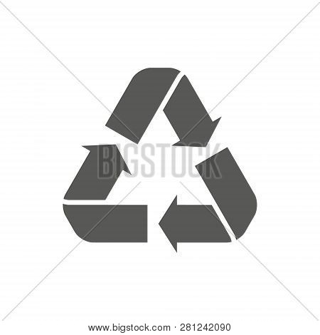 Recycle Icon Vector. Style Is Flat Symbol, Gray Color, Rounded Angles, White Background. Recycle Ico