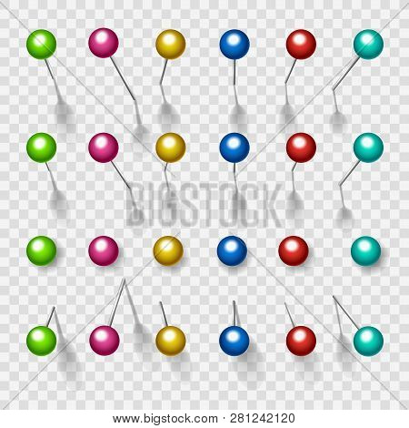 Colorful Thumbtacks. Metal Color Pushpins Isolated On Transparent Background, Vector Push Pins With