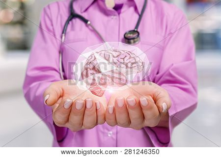 A Closeup Of Young Doctor Holding The Brain Image Model Inside A Protective Cage In Her Palms At Blu