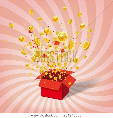 Box With Coins Exploision, Blast. Open Red Gift Box And Confetti. Win, Casino, Lottery, Quiz. Spiral