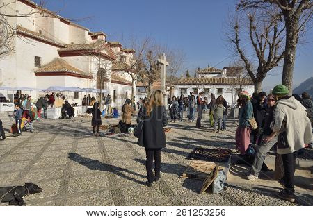 Granada, Spain - December 27, 2014: Many People At San Nicholas Plaza In The District Of  Albaicin I