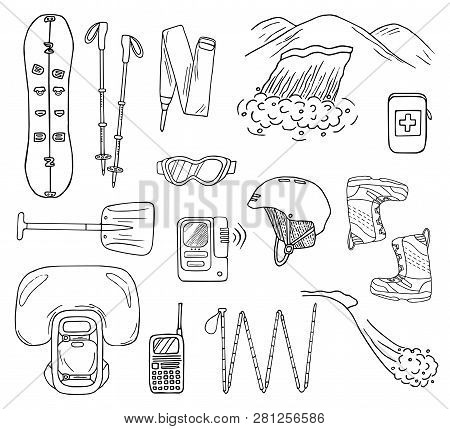 Set Of Hand-drawn Avalanche Safety Gear Icons. Doodle Splitboard, Airbag, Beacon, Shovel, Etc.. Sket