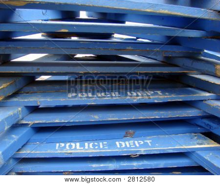 police barricades waiting to be picked up after St. Patrick day parade poster