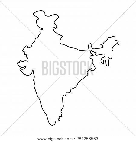 Map India - Outline. Image & Photo (Free Trial) | Bigstock