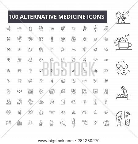 Alternative Medicine Editable Line Icons, 100 Vector Set, Collection. Alternative Medicine Black Out