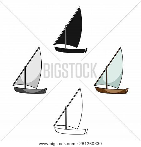 Little River Sailing For Fun.the Boat Which Sails Through The Wind.ship And Water Transport Single I