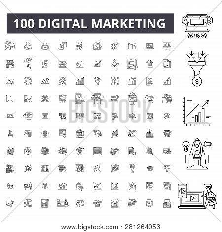 Digital Marketing Editable Line Icons, 100 Vector Set, Collection. Digital Marketing Black Outline I
