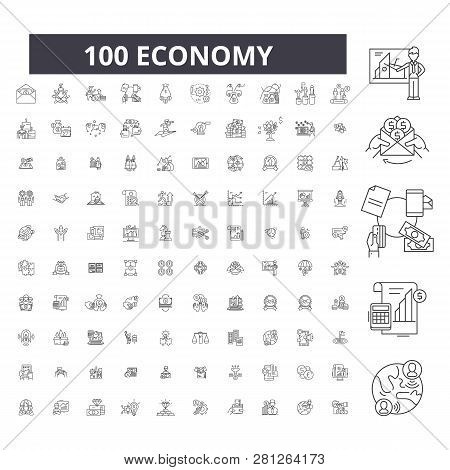 Economy Editable Line Icons, 100 Vector Set, Collection. Economy Black Outline Illustrations, Signs,