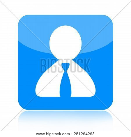 Person Blue Square Glossy Icon Isolated On White Background